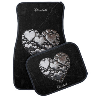 Silver Hearts On Black Marble Car Mat