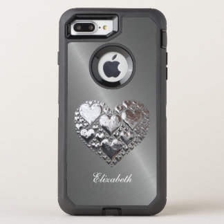 Silver Hearts On Brushed Steel OtterBox Defender iPhone 7 Plus Case