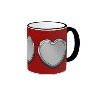 Silver Hearts On Red Mug