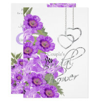 Silver Hearts on With Purple Lavender Flowers Invitation