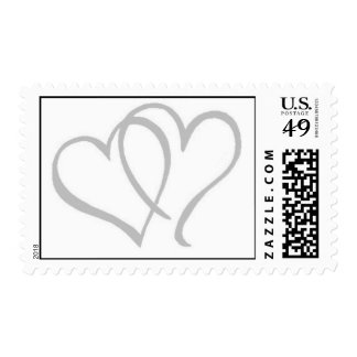 Silver Hearts Postage Stamps