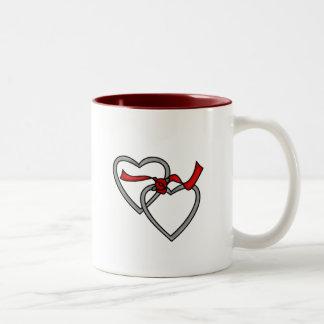 Silver Hearts Red Ribbon Mug