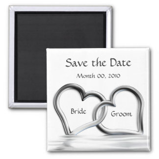 Silver Hearts Save the Date magnets