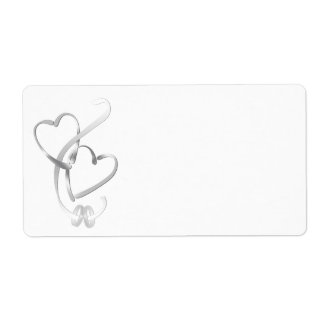 Silver Hearts Shipping Labels