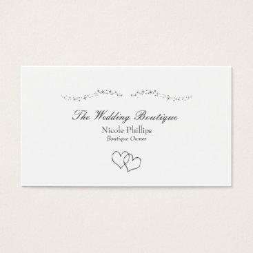 Professional Business Silver Hearts & Sparkles Wedding Business Card