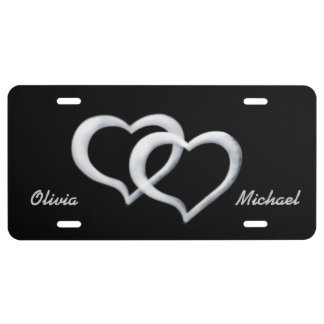 Silver Hearts Sweetheart License Plate