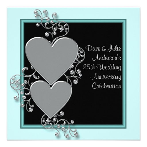 Silver Hearts Teal Silver 25th Anniversary Party Invitation