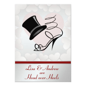 Silver Hearts Top Hat High Heels Red Ribbon Card