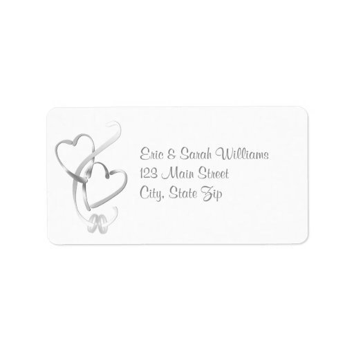 Silver hearts wedding address labels zazzle for Wedding mailing labels templates