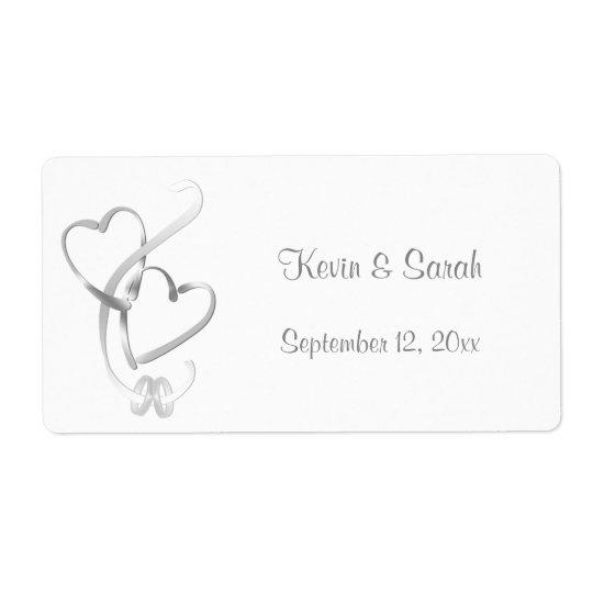 Silver Hearts Wedding Labels