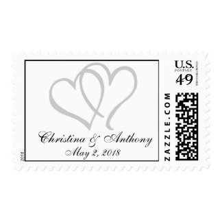 Silver Hearts Wedding Postage Stamps|Custom