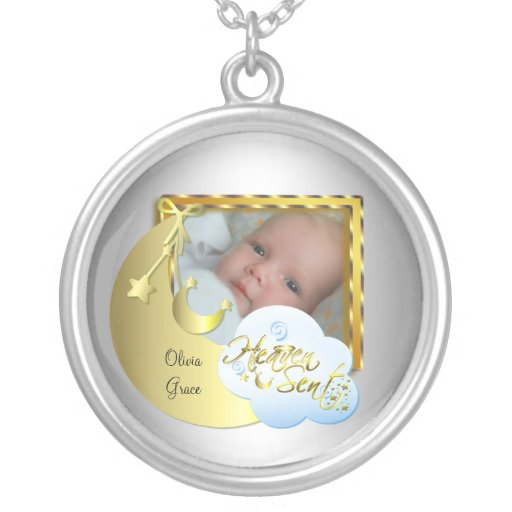 Silver Heaven Sent Baby Photo Frame Necklace