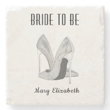 Bride Themed Silver Heels Bride to Be Stone Coaster