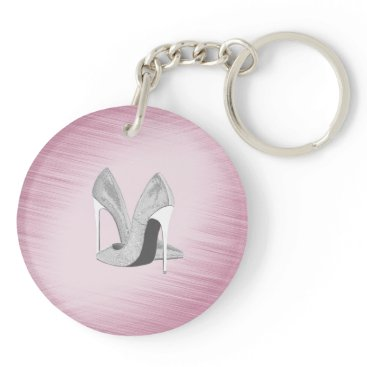 Bride Themed Silver Heels Pink Keychain