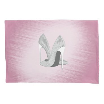 Bride Themed Silver Heels Pink Pillowcase