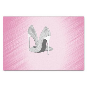 Bride Themed Silver Heels Pink Tissue Paper