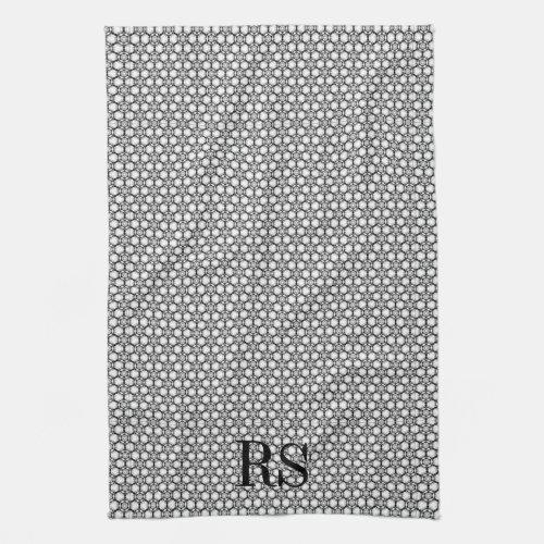 Silver Hexagon Pattern: Monogram Kitchen Decor Towels