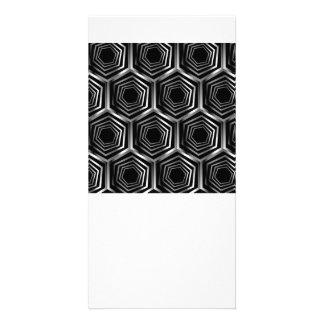 Silver hexagonal optical illusion card