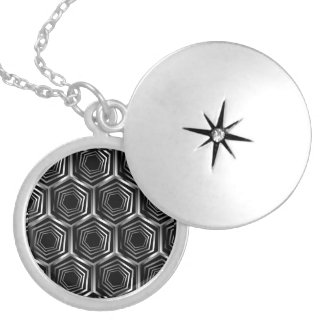 Silver hexagonal optical illusion silver plated necklace