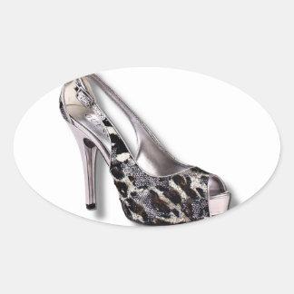 Silver High Heel add Text Animal Print jewel Oval Sticker