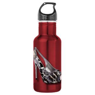 Silver High Heel add Text Animal Print jewel 18oz Water Bottle