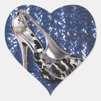 Silver High Heel add Text Animal Print sequins Heart Sticker