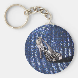 Silver High Heel add Text Animal Print sequins Keychain