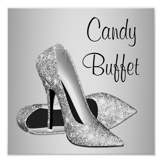 59ed8ef93d1 Silver High Heel Shoe Candy Buffet Sign
