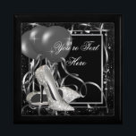 """Silver High Heel Shoes Keepsake Gift Box<br><div class=""""desc"""">High heel shoe keepsake gift box with elegant silver high heel shoes on a pretty black and silver balloon confetti background. Add your text in the font style,  font size &amp; color,  and wording of your choice.</div>"""