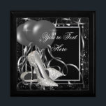 "Silver High Heel Shoes Keepsake Gift Box<br><div class=""desc"">High heel shoe keepsake gift box with elegant silver high heel shoes on a pretty black and silver balloon confetti background. Add your text in the font style,  font size & color,  and wording of your choice.</div>"