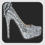 Silver High Heels Customize add Text Stickers