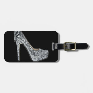 Silver High Heels Customize add Text Tag For Luggage
