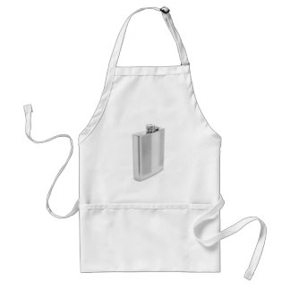 Silver hip flask adult apron
