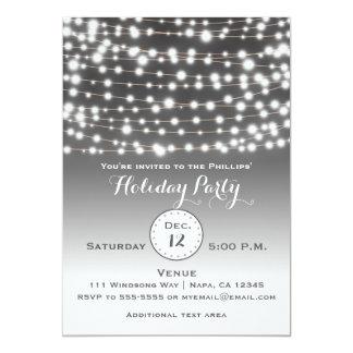 Silver Holiday Christmas String Lights Invitation