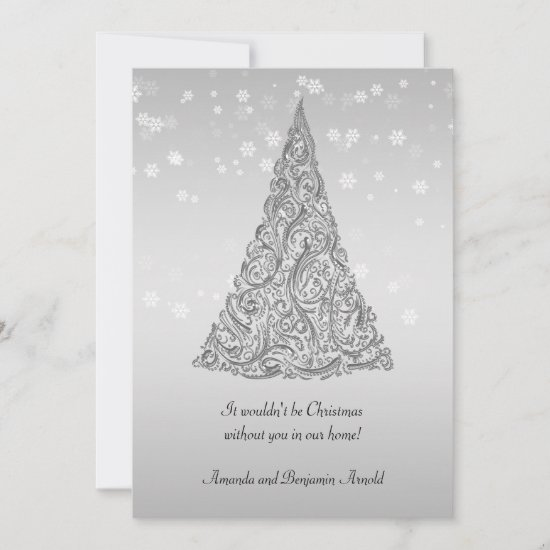 Silver Holiday Tree Snowflakes Invitation Card