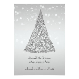 Silver Holiday Tree Snowflakes Invitation Card