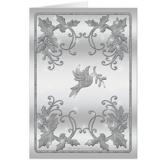 Silver Holly and Dove Greeting Card
