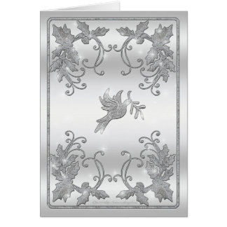 Silver Holly and Dove Greeting Greeting Card