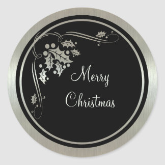 Silver Holly and Swirls on Black Christmas Classic Round Sticker