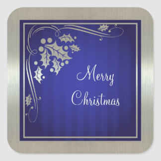 Silver Holly and Swirls on Blue Christmas Square Sticker