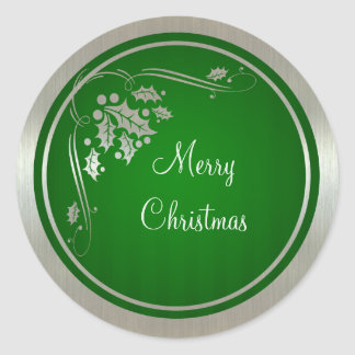 Silver Holly and Swirls on Green Xmas Stickers