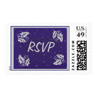 Silver Holly Snowflakes Blue RSVP Christmas Stamps