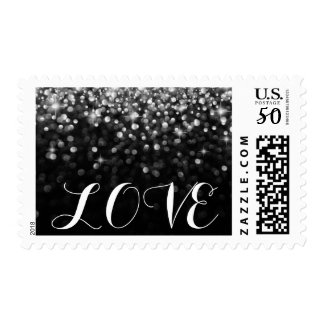 Silver Hollywood Glitz Glam LOVE postage stamp