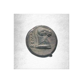 Silver Horse Antic Roman Coin Silver Background Canvas Print