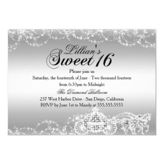 Silver Horse Carriage Princess Sweet 16 Invite