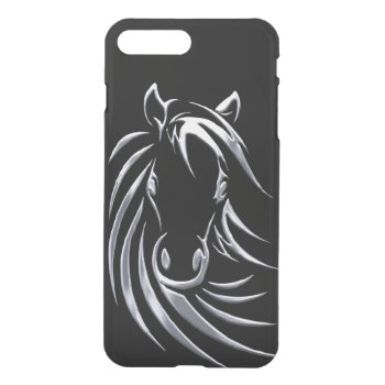Silver Horse Head Black iPhone 7 Case
