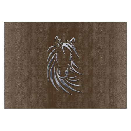 Silver Horse Head Brown Cutting Board