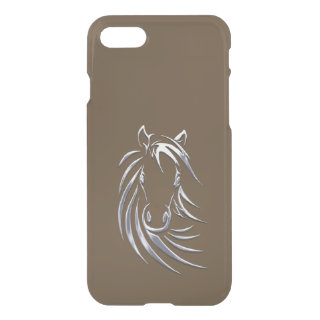 Silver Horse Head Brown iPhone 7 Case