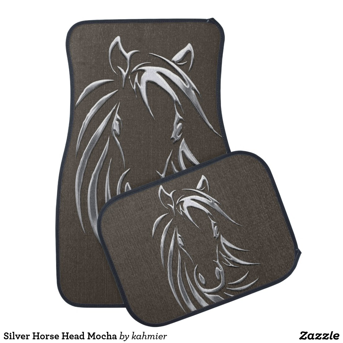 Silver Horse Head Mocha Car Floor Mat