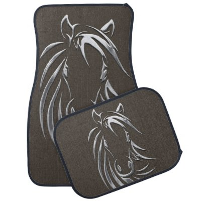 Silver Horse Head Mocha Car Floor Mat